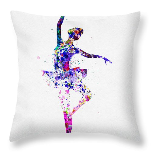 Ballet Throw Pillow featuring the painting Ballerina Dancing Watercolor 2 by Naxart Studio