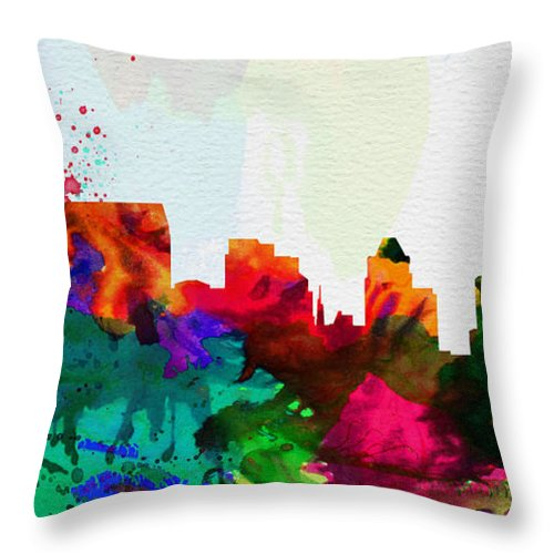 Baltimore Throw Pillow featuring the painting Baltimore City Skyline by Naxart Studio
