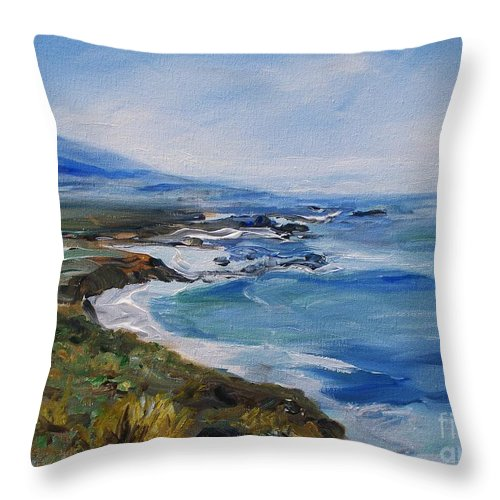 California Coast Throw Pillow featuring the painting Big Sur Coastline by Eric Schiabor