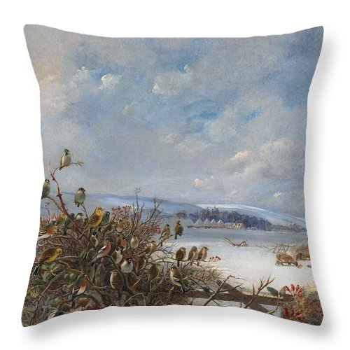 Tree Sparrow; Siskin; Greenfinch; Reed Bunting; Linnet; Yellowhammer; Yellow Bunting; Brambling; Chaffinch; Bullfinch; Robin; Malvern Hills; Worcestershire; England; English; Britain; British; Landscape; Rural; Countryside; View; Agriculture; Agricultural; Snow; Snowy; Winter; Sheep; Farm Animal; Animals; Winter Throw Pillow featuring the painting Birds Of A Feather by Charles Henry Clifford Baldwyn