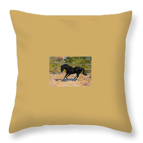 Horse Throw Pillow featuring the painting Black Horse by Sefedin Stafa