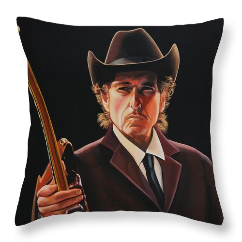 Bob Dylan Throw Pillow featuring the painting Bob Dylan 2 by Paul Meijering