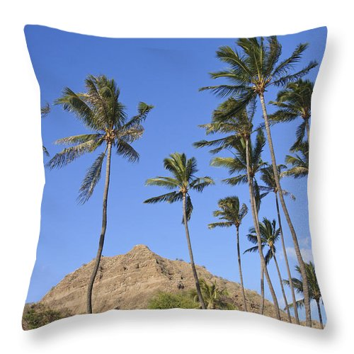 Blue Throw Pillow featuring the photograph Tip Of Diamond Head by Brandon Tabiolo