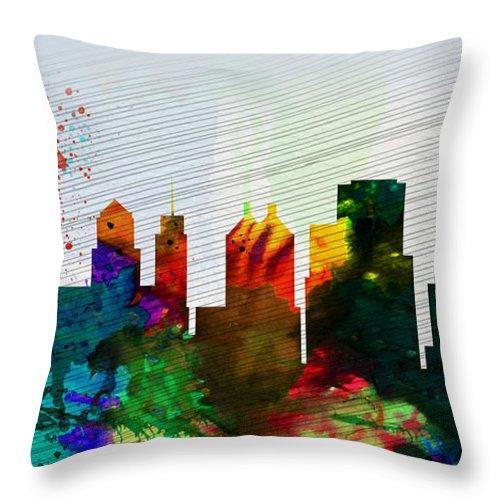 Buffalo Throw Pillow featuring the painting Buffalo City Skyline by Naxart Studio