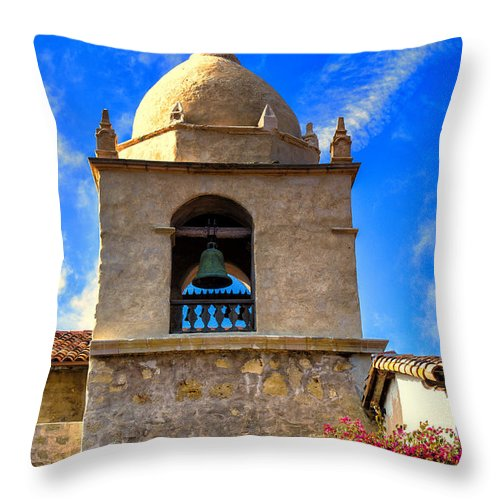 Carmel Mission Throw Pillow featuring the photograph Carmel Mission by Garry Gay