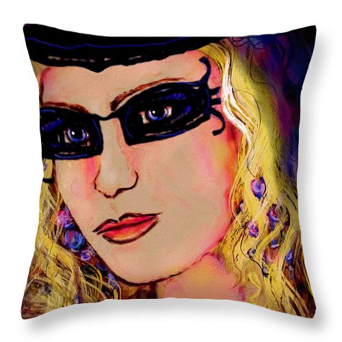 Portrait Throw Pillow featuring the mixed media Casablanca Girl by Natalie Holland