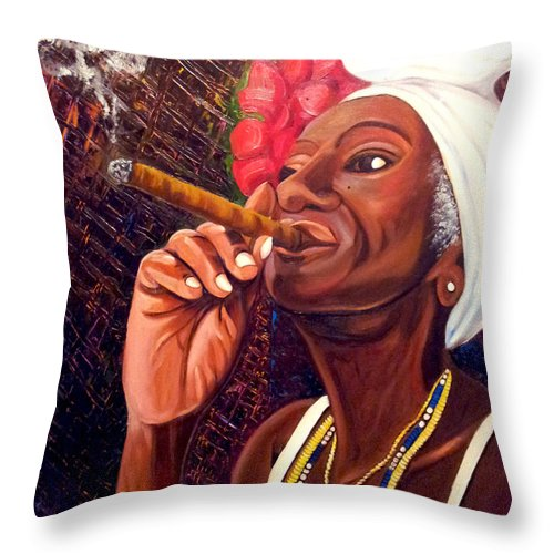 Cuban Art Throw Pillow featuring the painting  Cigar Lady by Jose Manuel Abraham