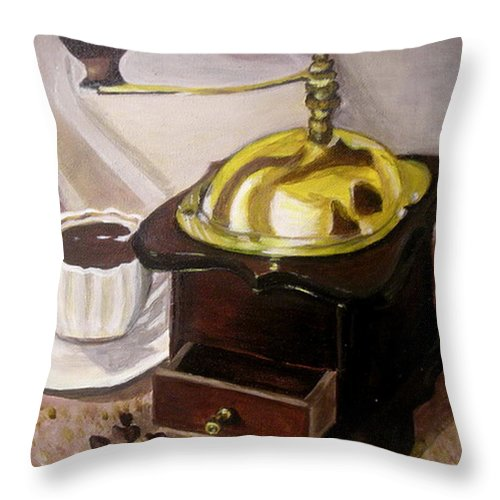 Brown Throw Pillow featuring the painting Cup Of Coffee by Vera Lysenko
