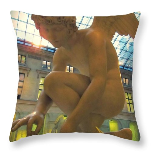 Cupid Playing With A Butterfly Throw Pillow featuring the photograph Cupid Playing With A Butterfly - Louvre Museum Paris by Marianna Mills
