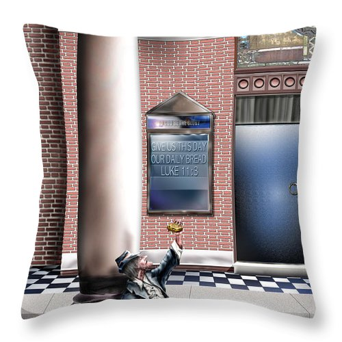 Homeless Man Throw Pillow featuring the painting Daily Bread A1 by Reggie Duffie