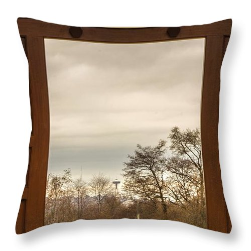 Door Throw Pillow featuring the photograph Door With A View by Calazone's Flics