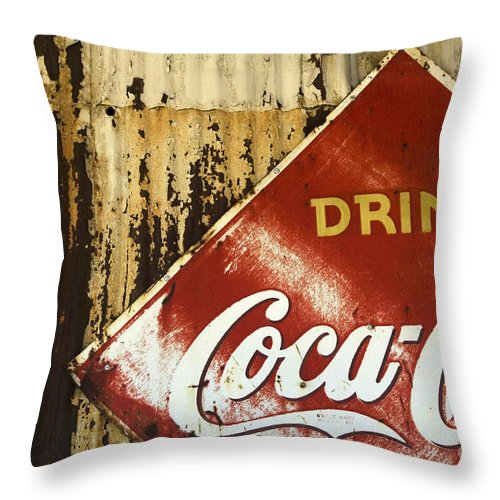 Coke Sign Throw Pillow featuring the photograph Drink Coca Cola Memorbelia by Bob Christopher