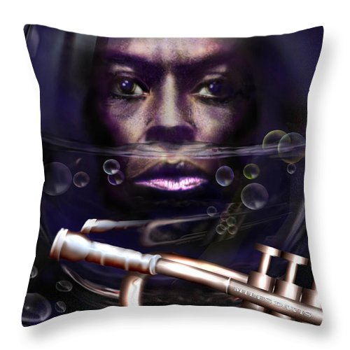Miles Davis Throw Pillow featuring the painting Fish Bowl Of Miles by Reggie Duffie