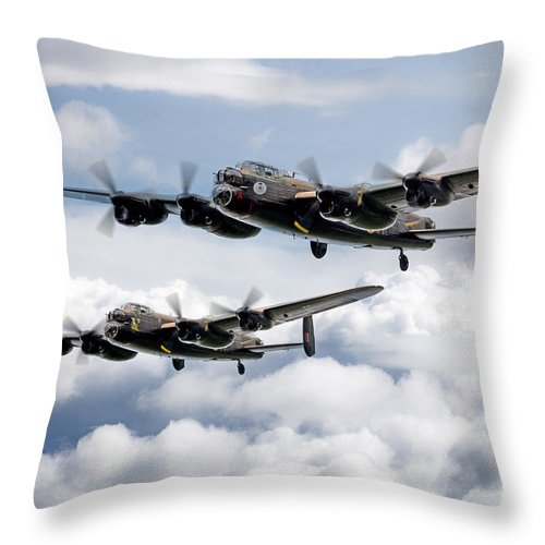 Avro Lancaster Throw Pillow featuring the digital art Flying Lancasters by J Biggadike