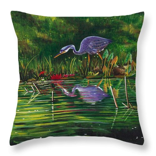 Designs Throw Pillow featuring the painting Food Chain  by Joy Bradley