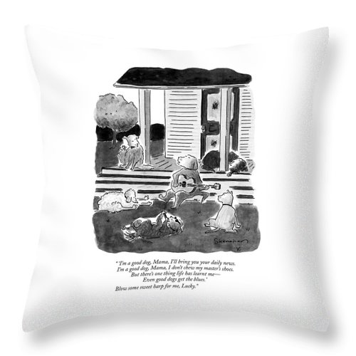 Dogs Throw Pillow featuring the drawing 'i'm A Good Dog by Danny Shanahan