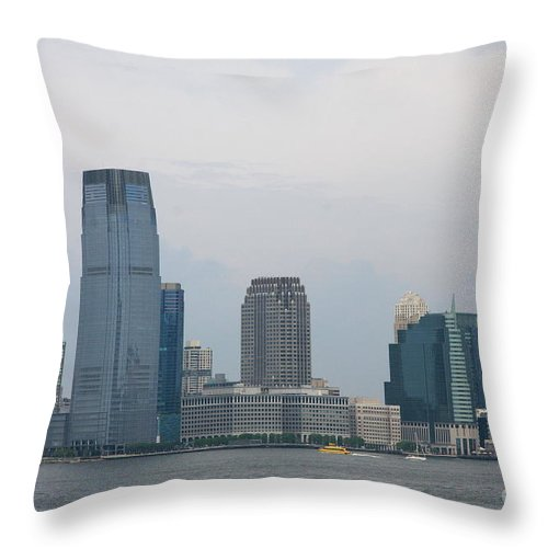 Jersey City Throw Pillow featuring the photograph Jersey City Skyline by Christiane Schulze Art And Photography