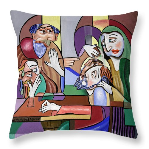 Jesus Anointed At Bethany Throw Pillow featuring the painting Jesus Anointed At Bethany by Anthony Falbo