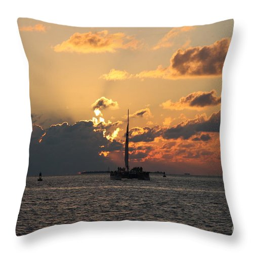 Sunset Throw Pillow featuring the photograph Marelous Key West Sunset by Christiane Schulze Art And Photography