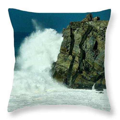 Mugu Rock Throw Pillow featuring the photograph  Lady Of Mugu Rock 1 by Michael Gordon