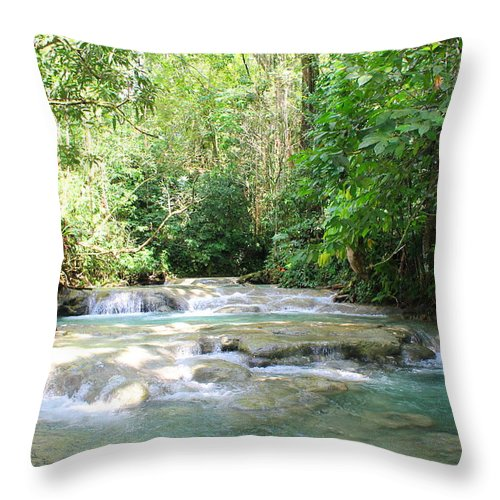 Mayfield Falls Throw Pillow featuring the photograph Mayfield Falls Jamaica by Debbie Levene