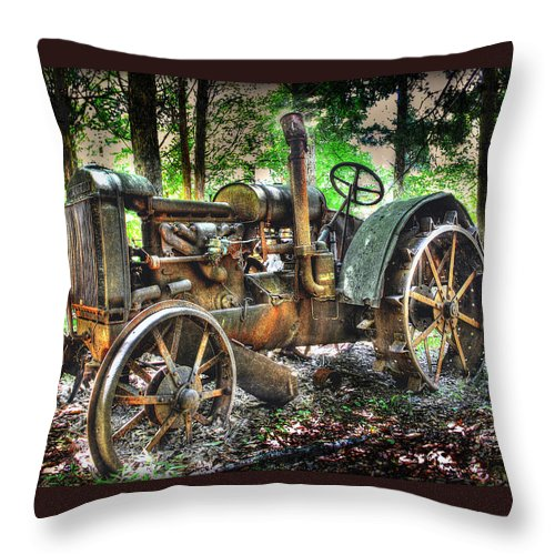 Farm Equipment Rural Country Early Years Throw Pillow featuring the photograph Mccormick Deering Tractor by Todd Carter