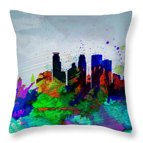 Minneapolis Throw Pillow featuring the painting Minneapolis Watercolor Skyline by Naxart Studio