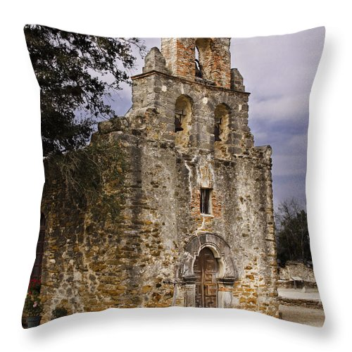 Arches Throw Pillow featuring the photograph Mission Espada by David and Carol Kelly