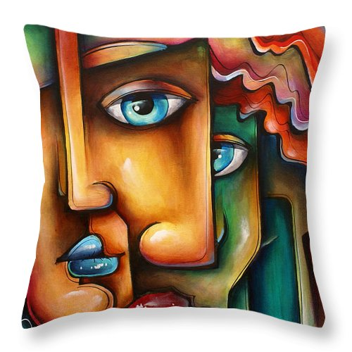 Urban Expressions Throw Pillow featuring the painting ' Mixed Emotions ' by Michael Lang