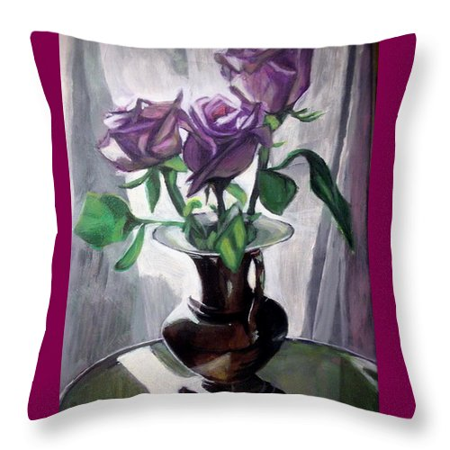Rose Throw Pillow featuring the painting Morning Roses by Vera Lysenko