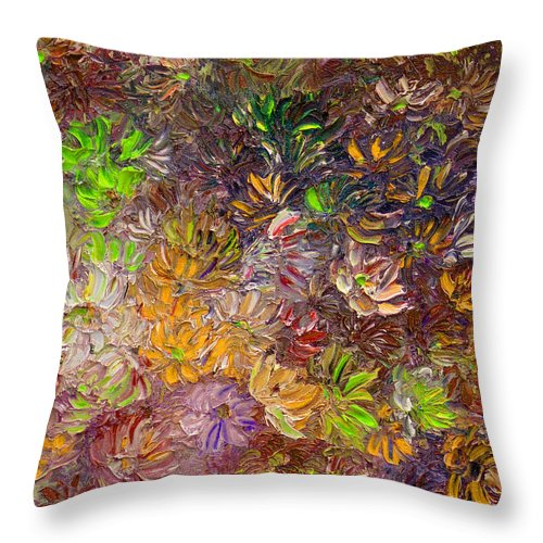 Green Abstract Throw Pillow featuring the painting My Pretty Green Pallet by Karin Dawn Kelshall- Best