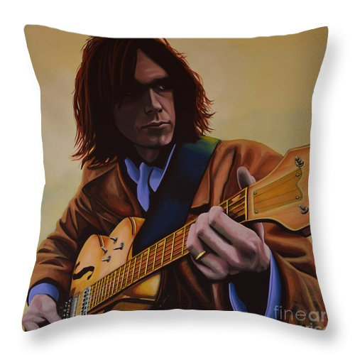 Neil Young Throw Pillow featuring the painting Neil Young Painting by Paul Meijering
