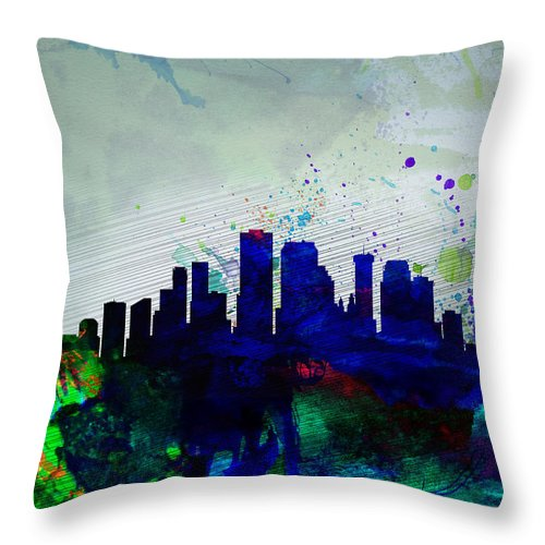 New Orleans Throw Pillow featuring the painting New Orleans Watercolor Skyline by Naxart Studio