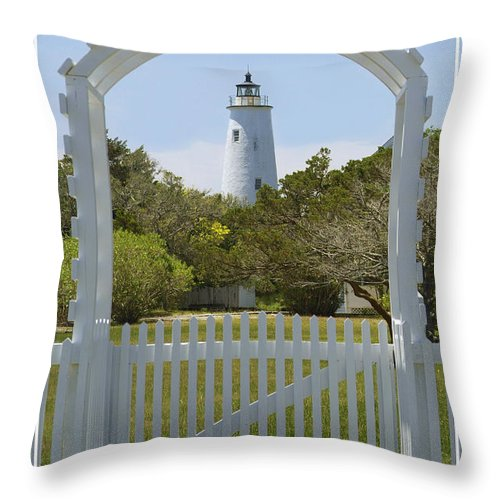 North Carolina Throw Pillow featuring the photograph Ocracoke Island Lighthouse by Mike McGlothlen