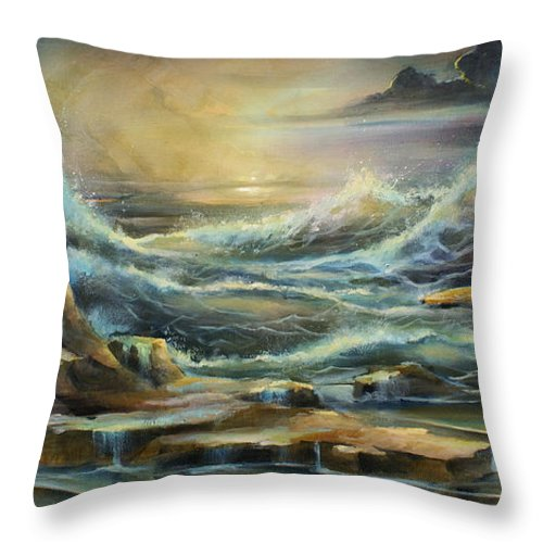 Seascape Throw Pillow featuring the painting ' Ontario Evening ' by Michael Lang