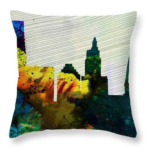 Providence Throw Pillow featuring the painting Providence City Skyline by Naxart Studio