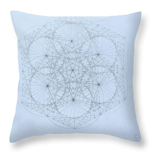 Jason Padgett Throw Pillow featuring the drawing Quantum Snowflake by Jason Padgett
