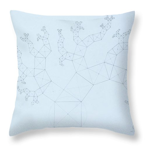 Fractal Tree Throw Pillow featuring the drawing Quantum Tree by Jason Padgett