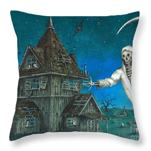 Reaper Throw Pillow featuring the drawing Reaper At Midnight by Melvin Rodela