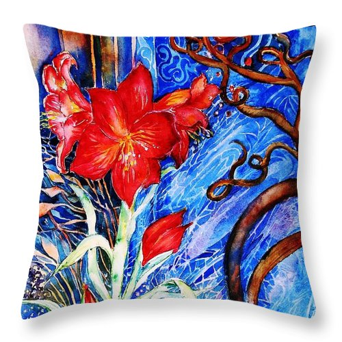 Still Life Throw Pillow featuring the painting Red Amaryllis by Trudi Doyle