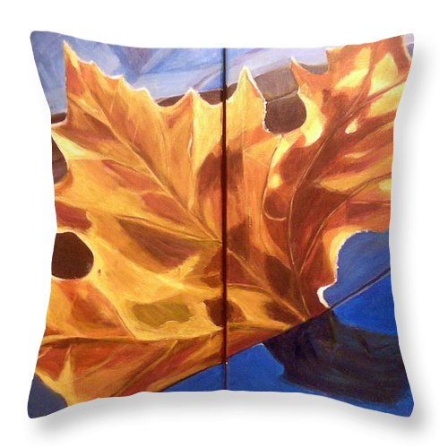 Orange Throw Pillow featuring the painting Reflection by Vera Lysenko
