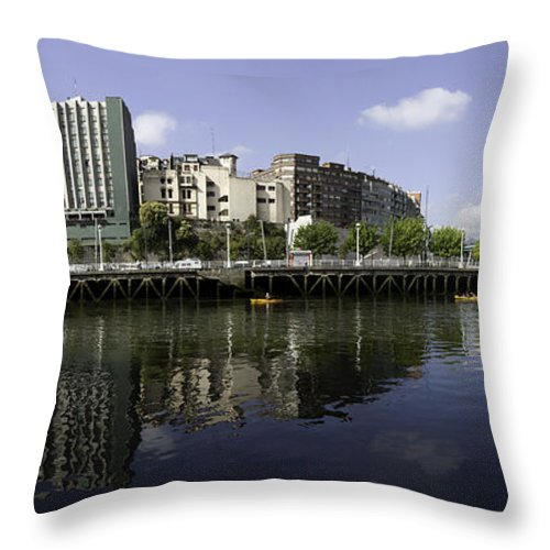 Bilbao Throw Pillow featuring the photograph  River Nervion Panorama by John Gaffen