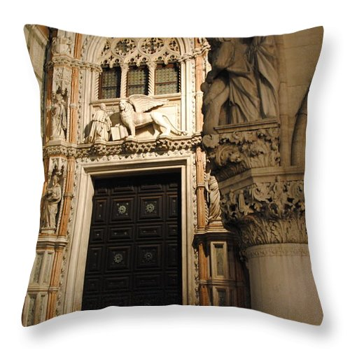 Throw Pillow featuring the photograph Saint Mark And Lion by Jacqueline M Lewis