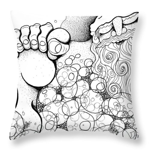 Xmas Throw Pillow featuring the drawing Santa's Long Night by Joy Bradley