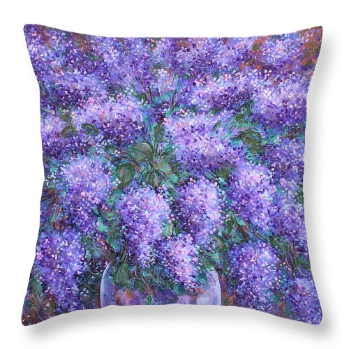 Flowers Throw Pillow featuring the painting Scented Lilacs Bouquet by Natalie Holland