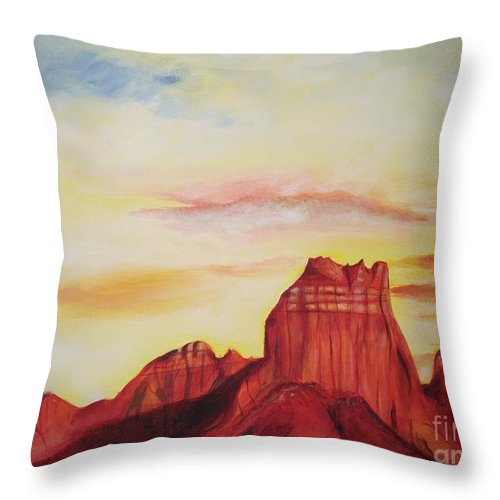 Western Throw Pillow featuring the painting Sedona Az by Eric Schiabor