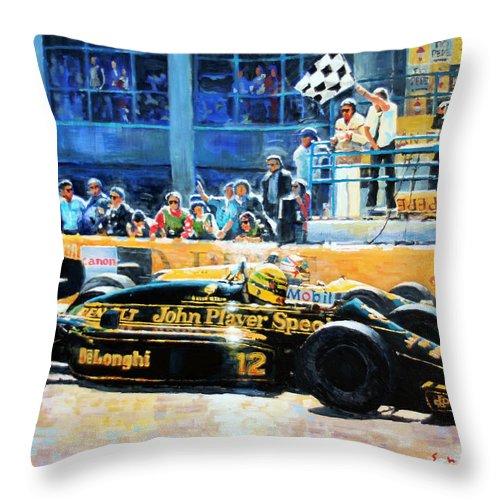 Acrilic On Canvas Throw Pillow featuring the painting Senna Vs Mansell F1 Spanish Gp 1986 by Yuriy Shevchuk