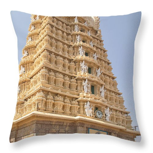 India Throw Pillow featuring the digital art Sri Chamundeswari Temple by Carol Ailles