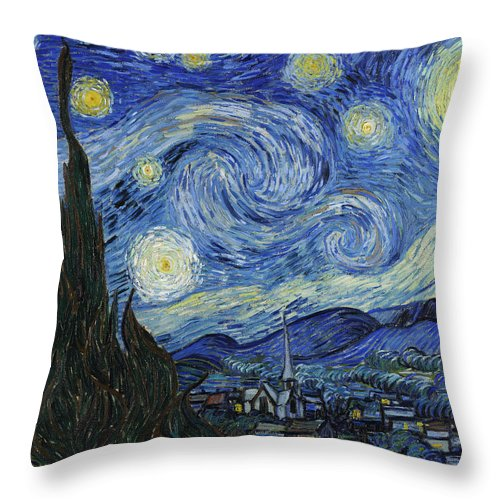 Vincent Van Gogh Throw Pillow featuring the painting The Starry Night by Vincent van Gogh