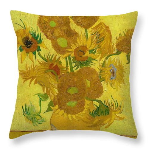 Vincent Van Gogh Throw Pillow featuring the painting Sunflowers by Vincent van Gogh